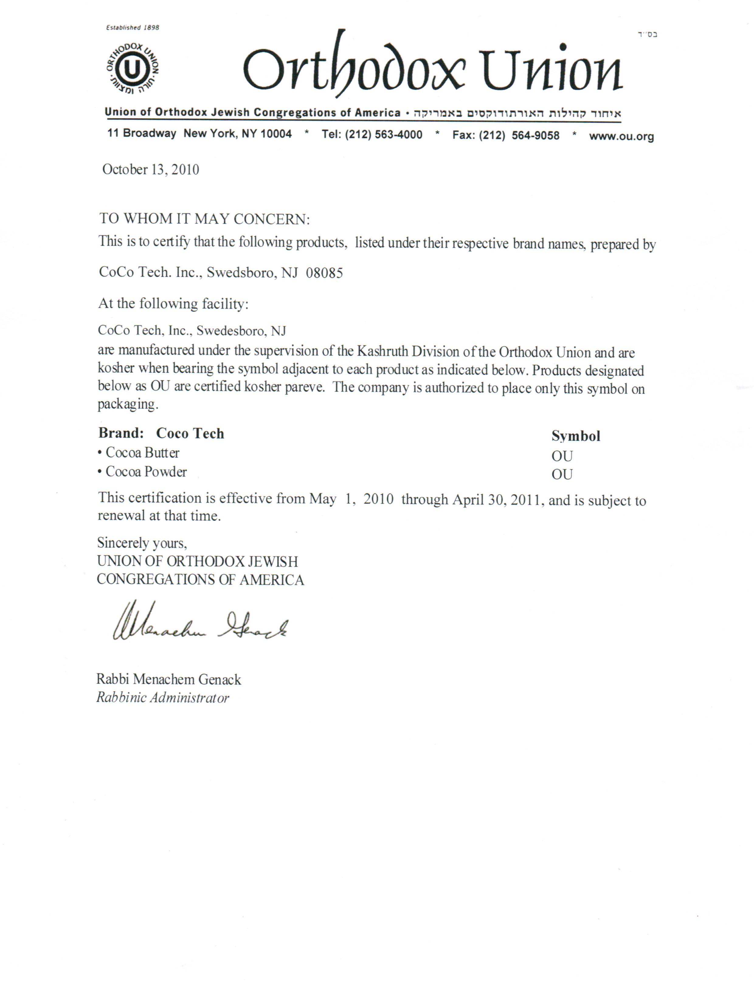 Kosher Certificate Savita Naturals